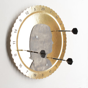 not that gold. Rebecca. piombo e stampa a ricalco su cartone dorato cm 40 x 40. 2015