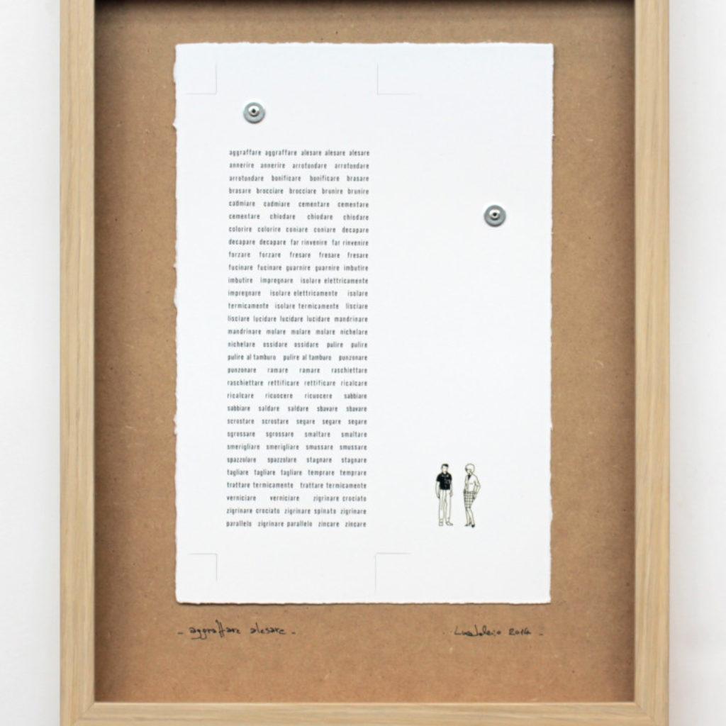 aggraffare alesare. stampa a ricalco su carta calcografica, rivetti e mdf. cm. 42,5 x 32,5. 2014