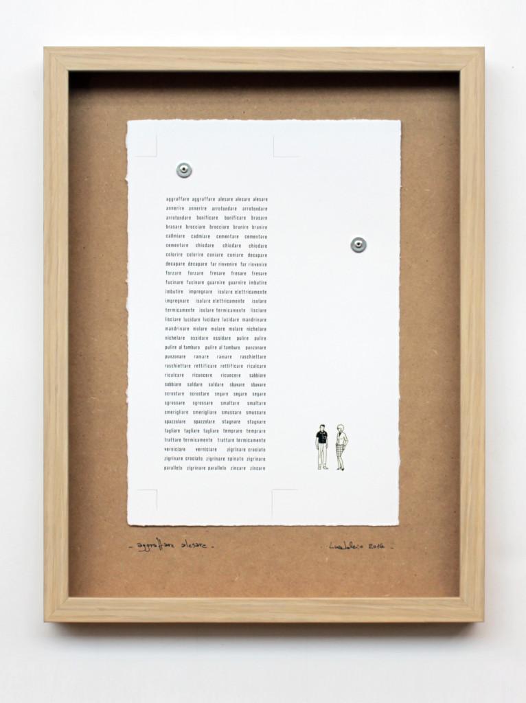 aggraffare alesare. stampa a ricalco su carta calcografica e mdf cm. 42,5 x 32,5. 2014
