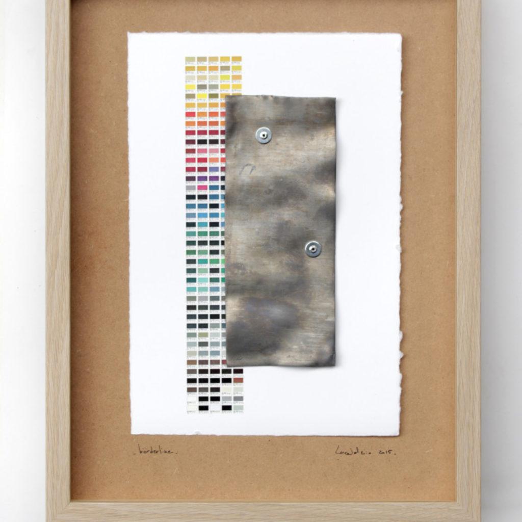 borderline. stampa laser su carta calcografica e piombo su mdf cm. 42,5 x 32,5. 2015