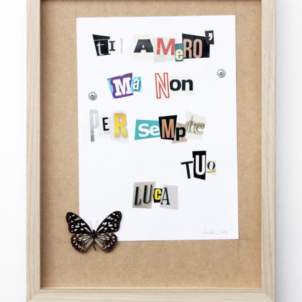 ome una mosca sul burro. farfalla e carta su mdf cm. 42,5 x 32,5. 2014