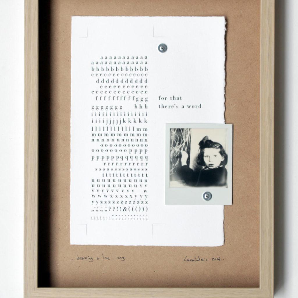drawing a line (trittico). stampa a ricalco su carta calcografica, rivetti e polaroid su mdf cm. 42,5 x 32,5 ciascuno. 2014