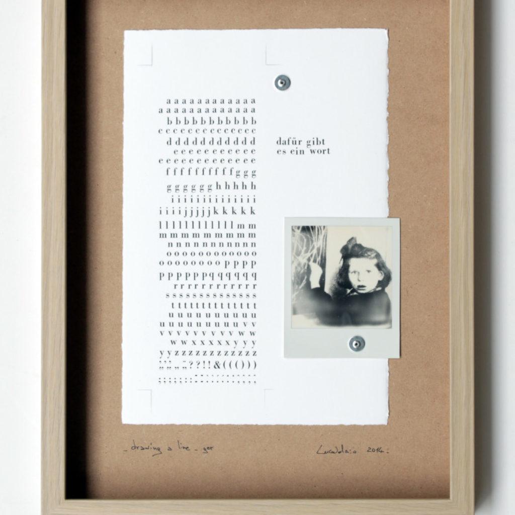 drawing a line (trittico). stampa a ricalco su carta calcografica e polaroid su mdf cm. 42,5 x 32,5 ciascuno. 2014