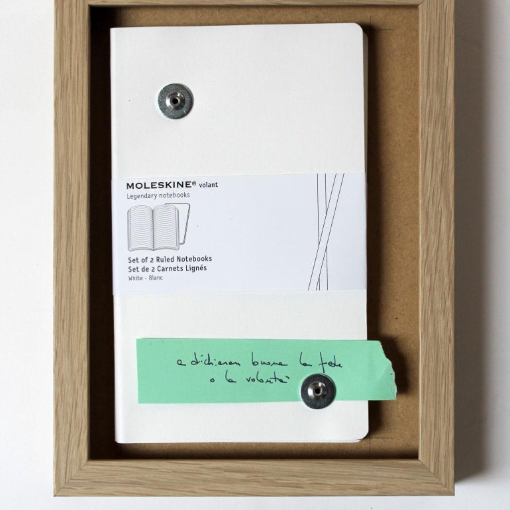 due taccuini in bianco. moleschine su mdf cm. 26,2 x 20,2. 2014