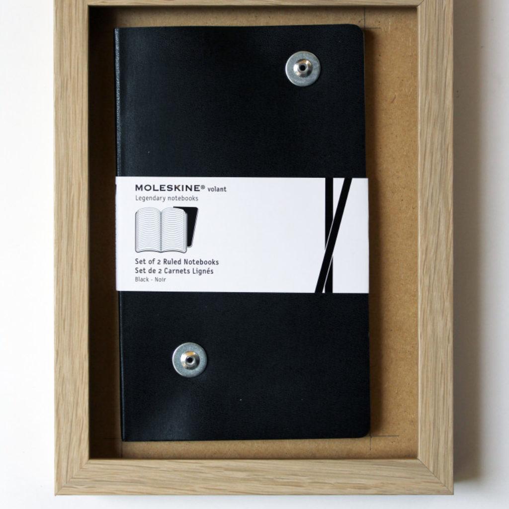 due taccuini in nero. moleschine su mdf cm. 26,2 x 20,2. 2014