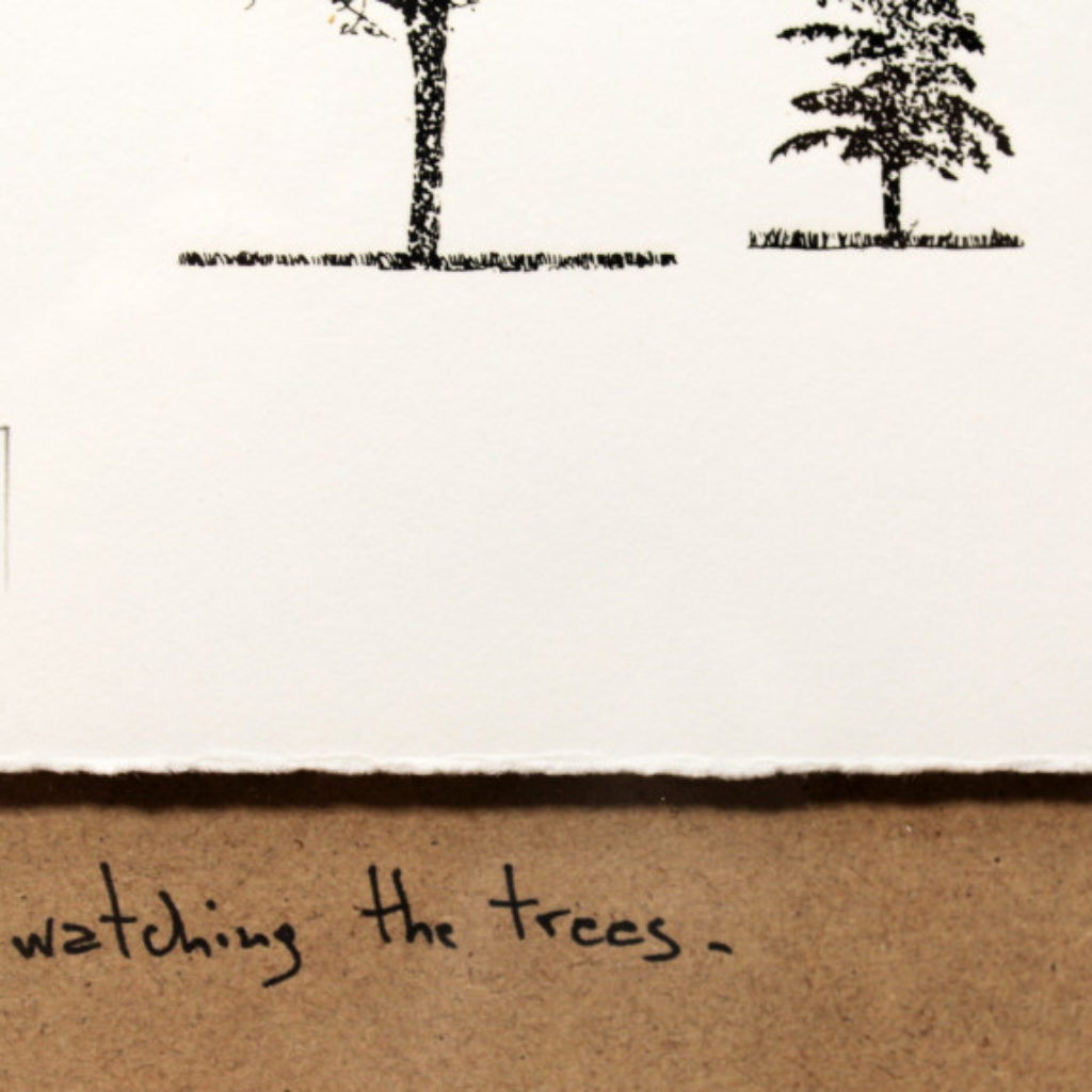 just watching the trees (part). stampa a ricalco su carta calcografica e mdf cm. 42,5 x 32,5. 2014