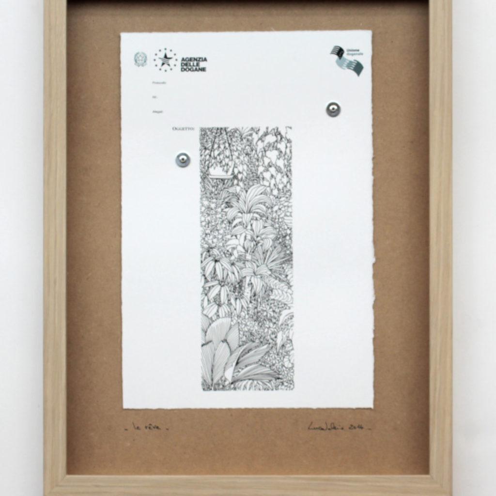 la rêve. stampa a ricalco e stampa digitale su carta calcografica e mdf cm. 42,5 x 32,5. 2014