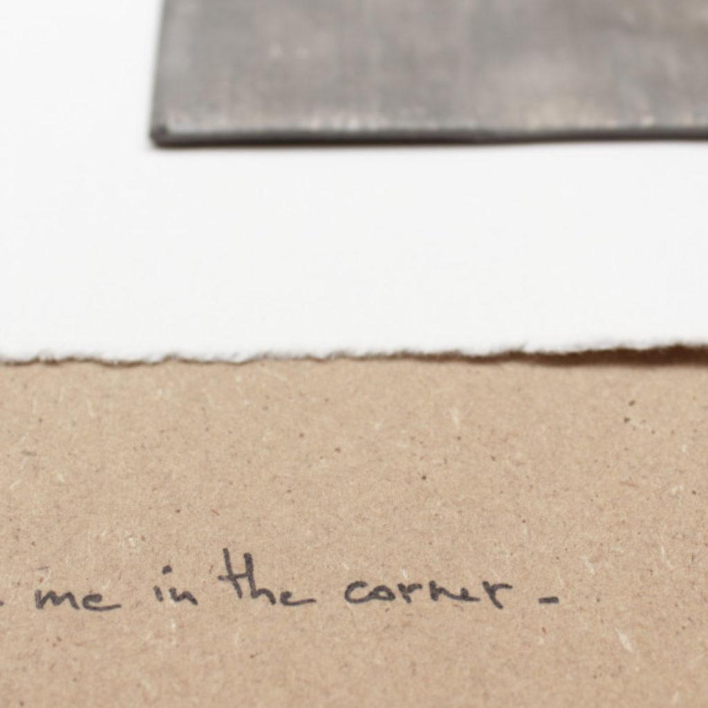 leave me in a corner (part). stampa a ricalco e piombo su carta calcografica e mdf cm. 42,5 x 32,5. 2015