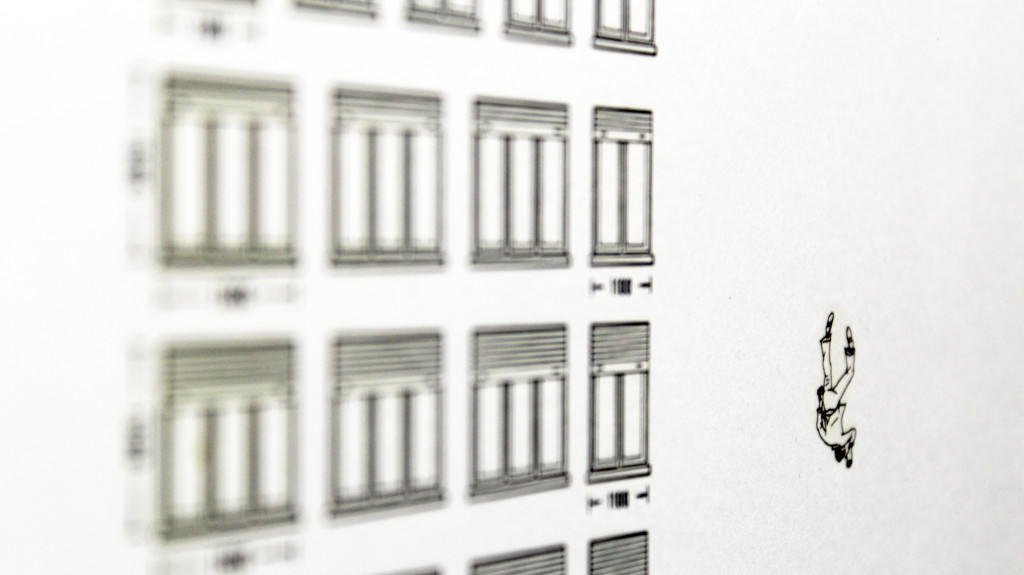 mr. lonely (part). stampa a ricalco su carta calcografica e mdf cm. 42,5 x 32,5. 2014