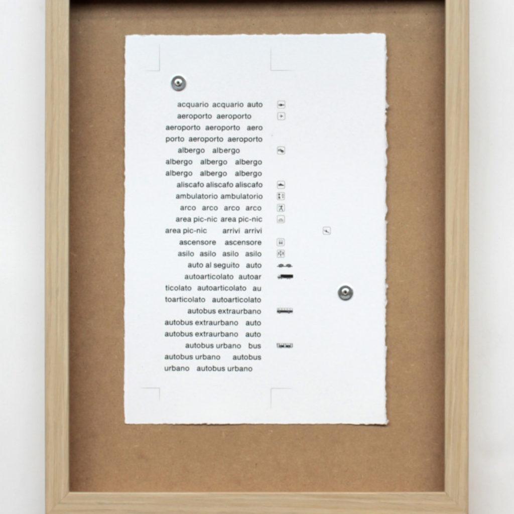 nomenclatura italiana #1. stampa a ricalco su carta calcografica e mdf cm. 42,5 x 32,5. 2015