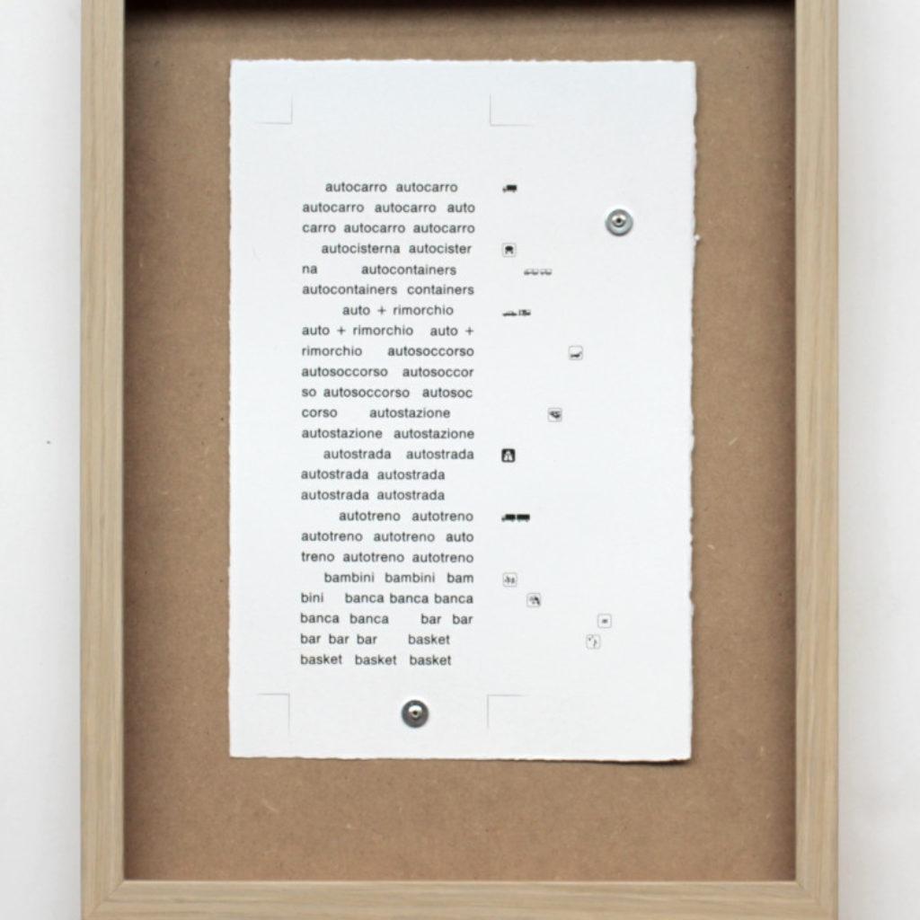 nomenclatura italiana #2. stampa a ricalco su carta calcografica e mdf cm. 42,5 x 32,5. 2015
