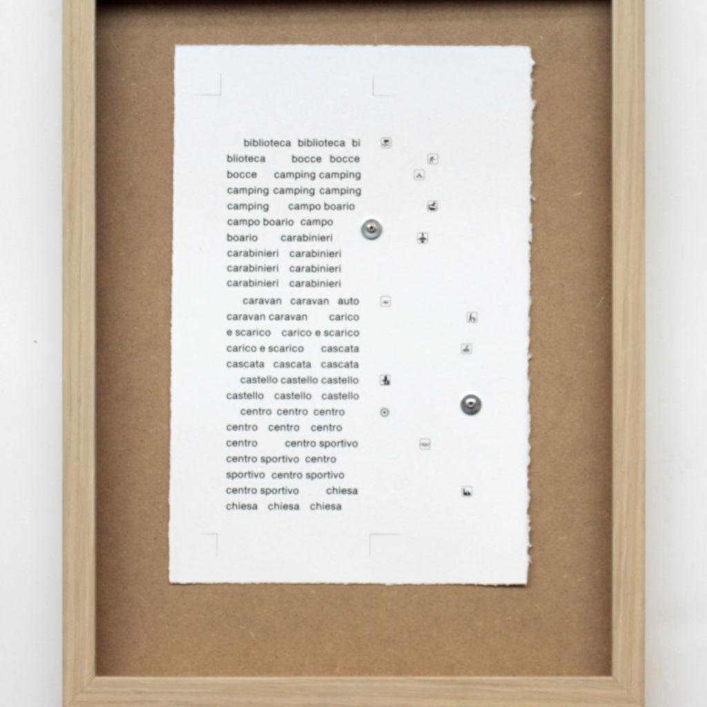 nomenclatura italiana #3. stampa a ricalco su carta calcografica e mdf cm. 42,5 x 32,5. 2015