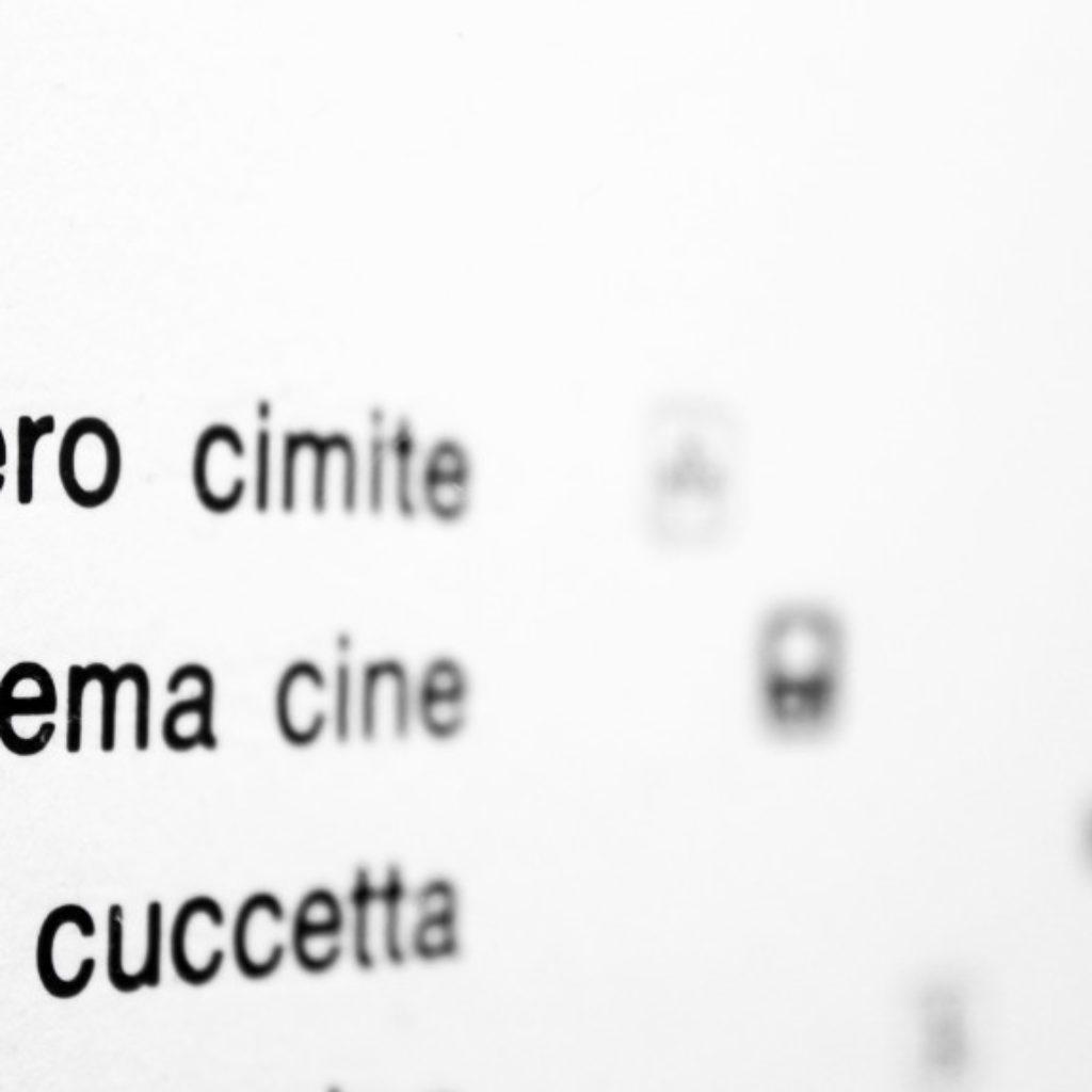 nomenclatura italiana #4 (part). stampa a ricalco su carta calcografica e mdf cm. 42,5 x 32,5. 2015