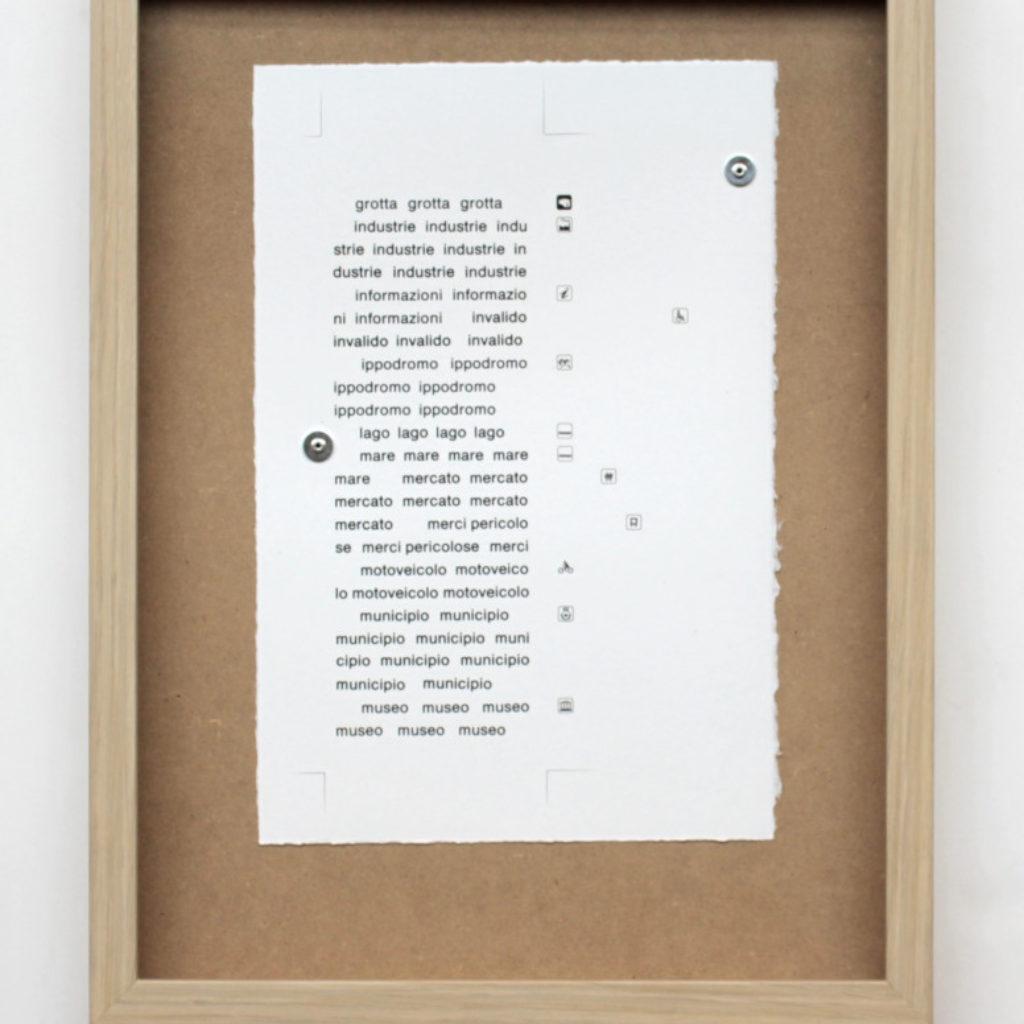 nomenclatura italiana #5. stampa a ricalco su carta calcografica e mdf cm. 42,5 x 32,5. 2015