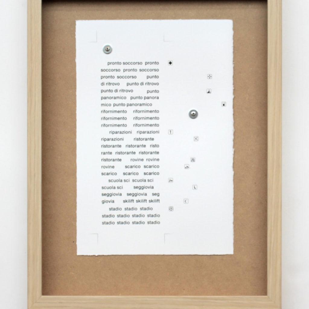nomenclatura italiana #7. stampa a ricalco su carta calcografica e mdf cm. 42,5 x 32,5. 2015