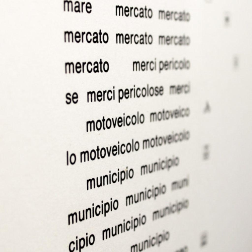 nomenclatura italiana #5 (part). stampa a ricalco su carta calcografica e mdf cm. 42,5 x 32,5. 2015