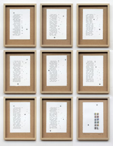 nomenclatura italiana (polittico). stampa a ricalco su carta calcografica, acquereli e mdf cm. 42,5 x 32,5 ciascuno. 2015