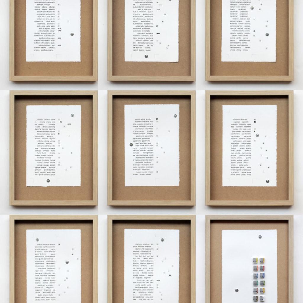 nomenclatura italiana (polittico). stampa a ricalco su carta calcografica, colori ad acquerello, rivetti e mdf. bacheche cm. 42,5 x 32,5 ciascuna. 2015