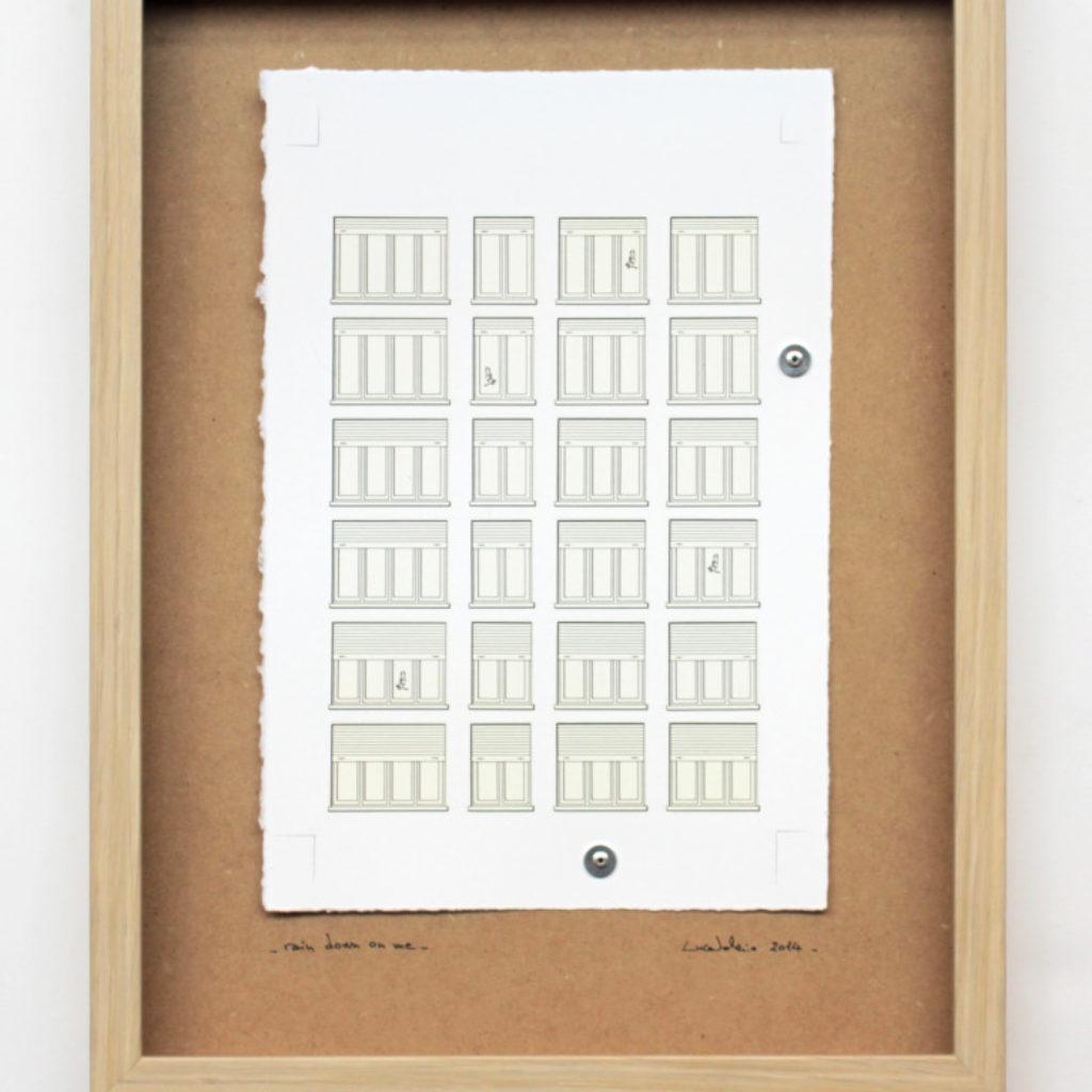 rain down on me. stampa a ricalco su carta calcografica e mdf cm. 42,5 x 32,5. 2014