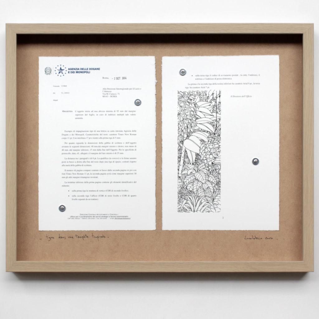tigre dans une tempête tropicale. stampa a ricalco e stampa digitale su carta calcografica e mdf cm. 42,5 x 52,5. 2014