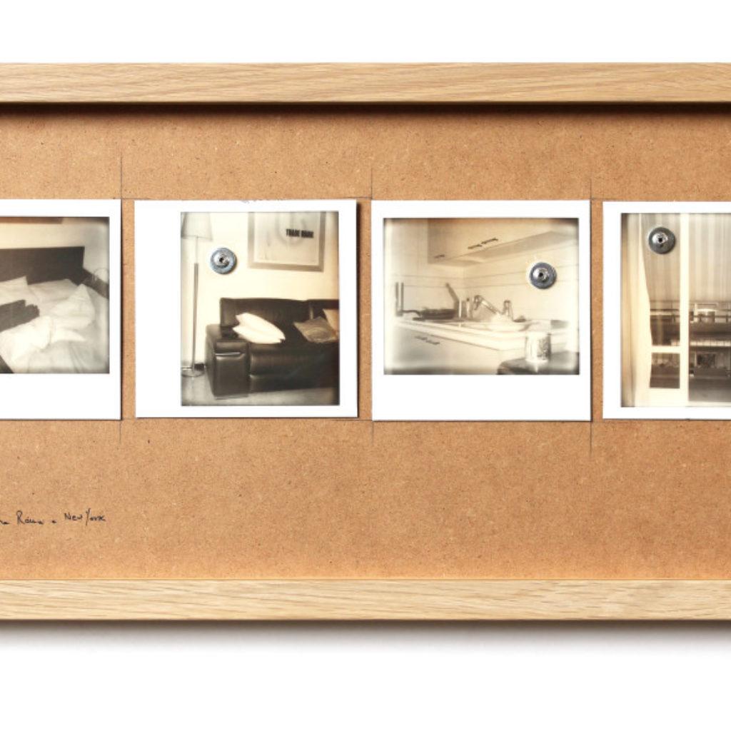 vive e lavora tra roma e new york. polaroids su mdf cm. 25,5 x 52,5. 2014
