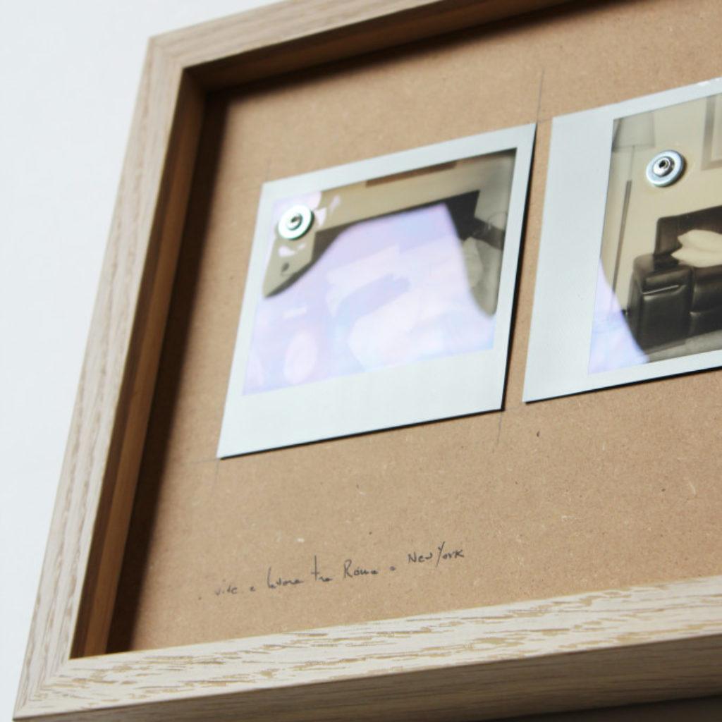 vive e lavora tra roma e new york (part). polaroids su mdf cm. 25,5 x 52,5. 2014