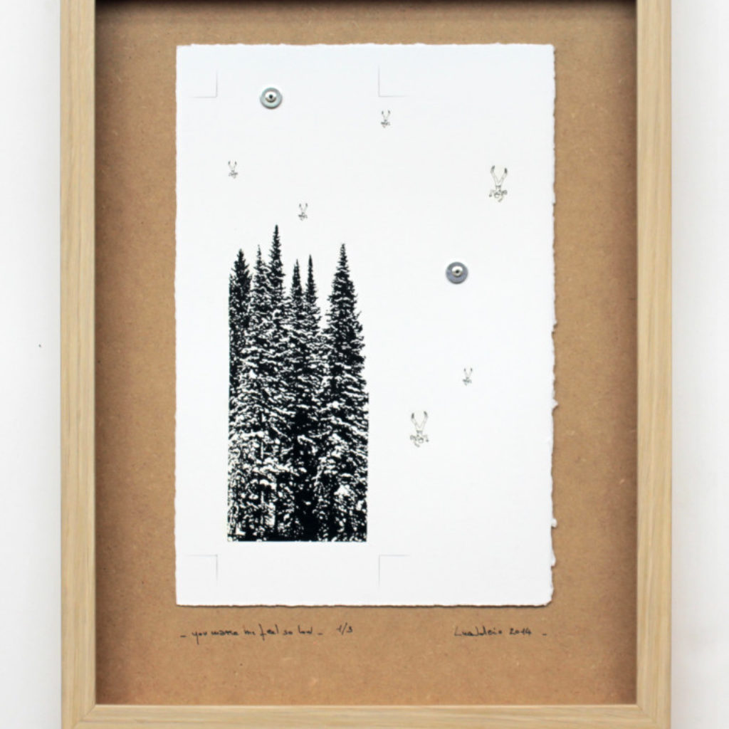 you make me feel so low. stampa a ricalco su carta calcografica e mdf cm. 42,5 x 32,5 tiratura n.3 esemplari. 2014