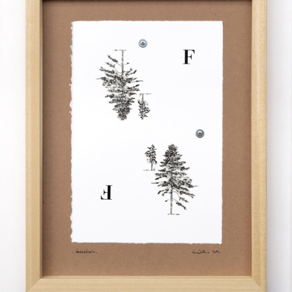 abecedario (F). stampa a ricalco su carta calcografica e mdf, 2015