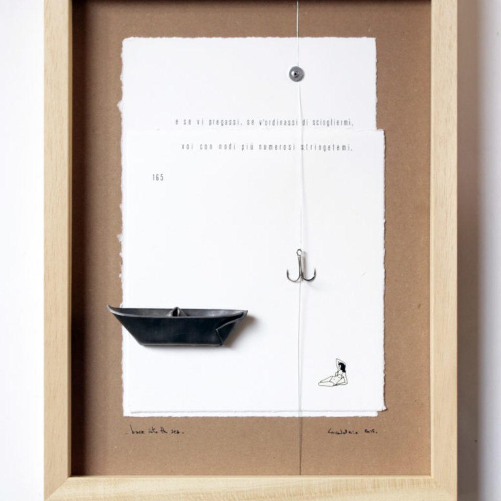back into the sea. stampa a ricalco, piombo e amo su carta calcografica e mdf cornice. cm. 42,5 x 32,5. 2015