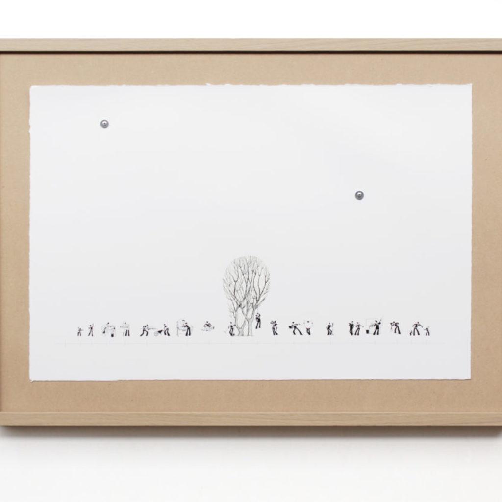 fruit tree (timeline). stampa a ricalco su carta calcografica e mdf, cornice. cm. 52,5 x 72,5. 2015