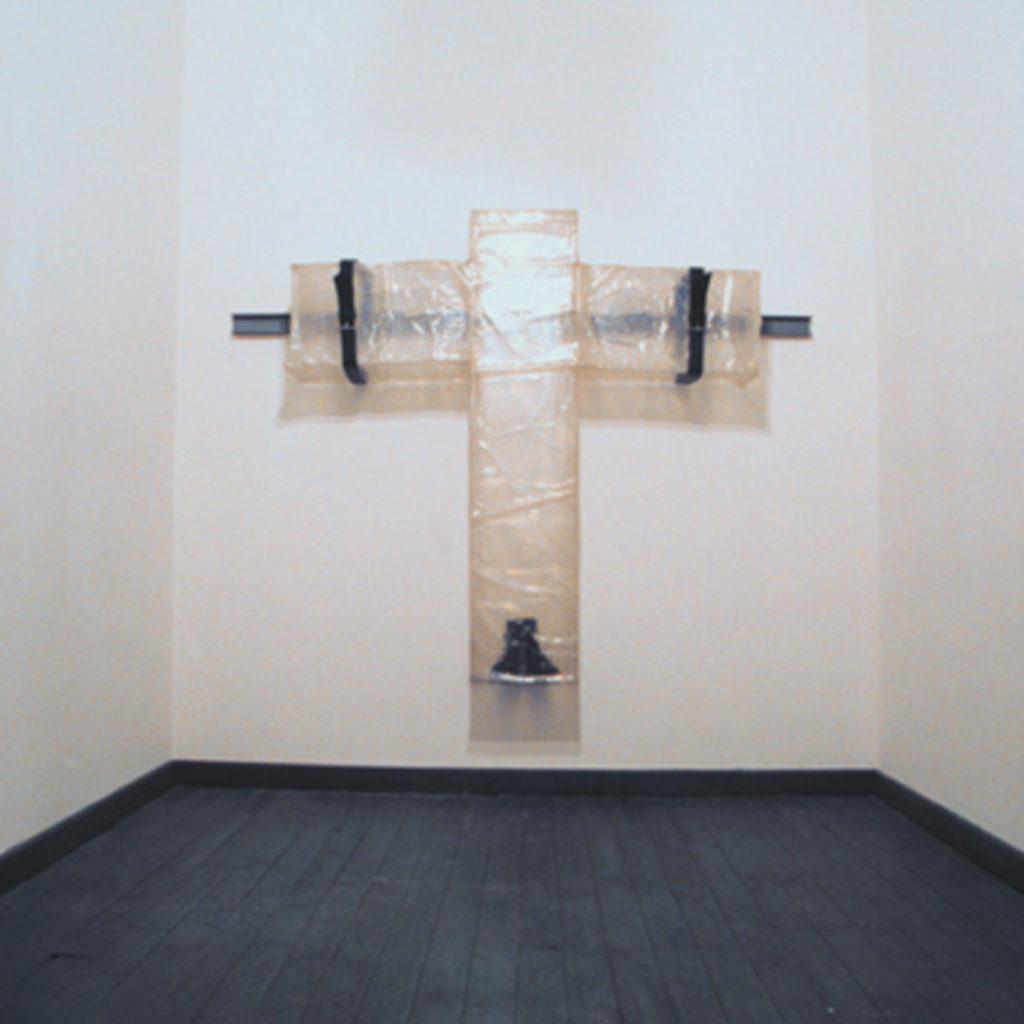 in your arms. ferro, vetroresina, stivali, cuoio, cm.18 x 180 x 35. 1999