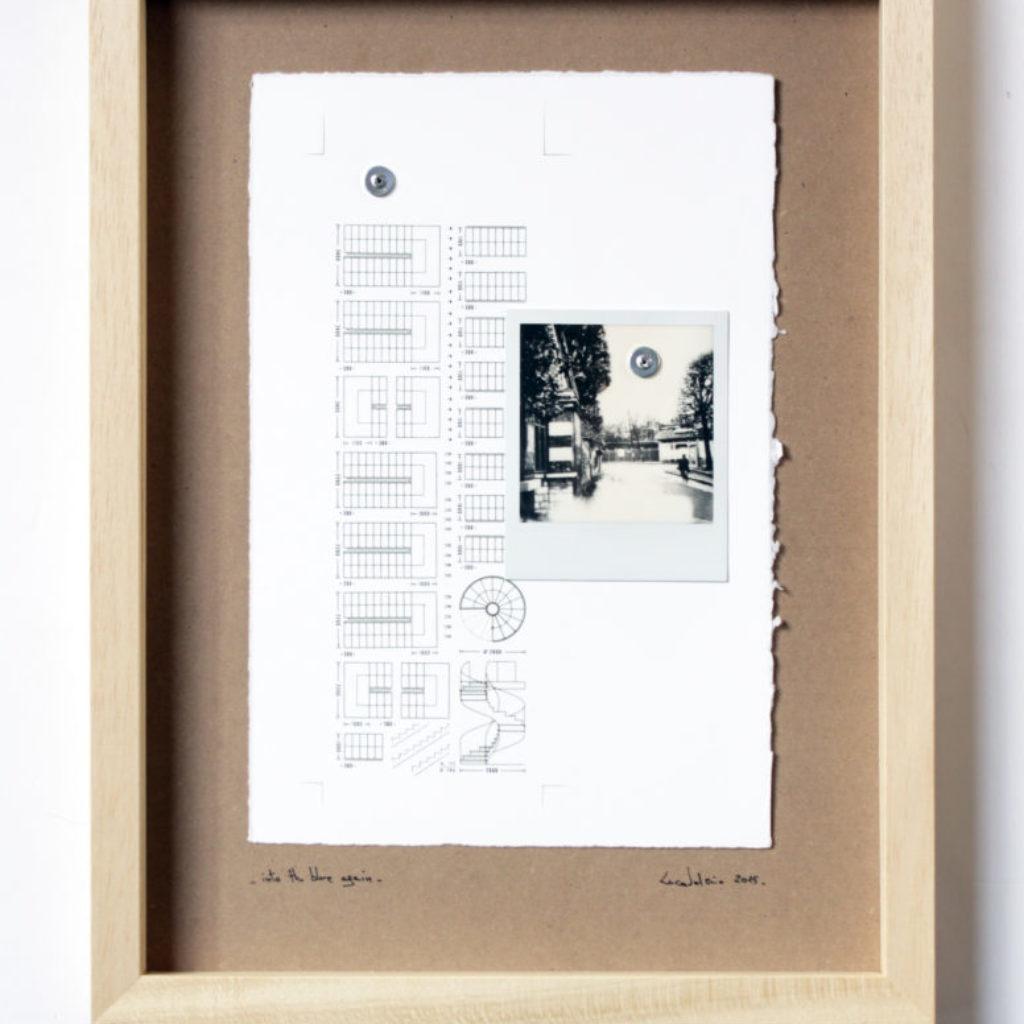nto the blue again. stampa a ricalco e polaroid su carta calcografica e mdf, cornice. cm. 43 x 33. 2015