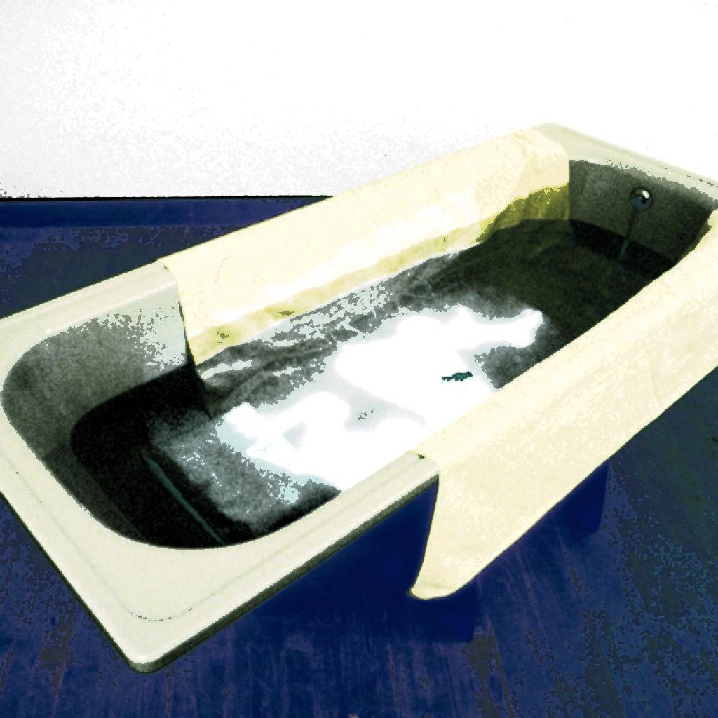 like a rebirth. vasca da bagno, tela, acqua, pesce rosso, proiezione cm. 180 x 70 x 60. 1997
