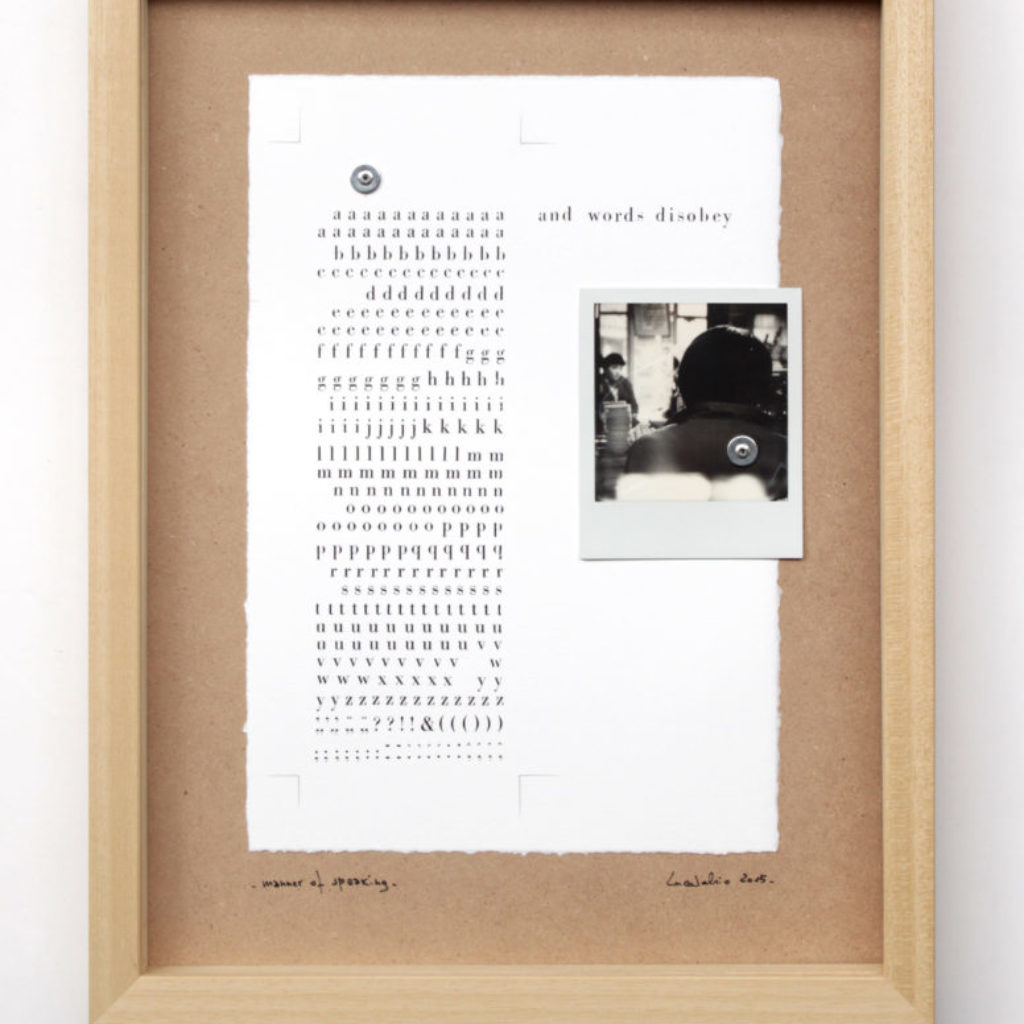 manner of speaking (disobey). stampa a ricalco e polaroid su carta calcografica e mdf, cornice. cm. 42,5 x 32,5. 2015