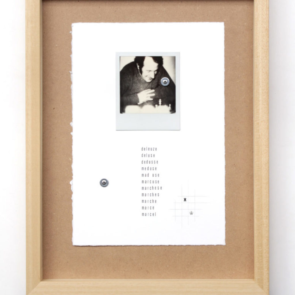marcel deleuze. stampa a ricalco e polaroid su carta calcografica e mdf, cornice. cm. 42,5 x 32,5. 2015