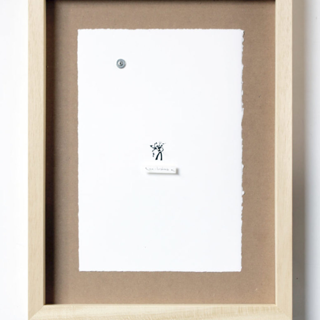 me as an insect (me-brahma). stampa a ricalco e spilli su carta calcografica e mdf, cornice. cm. 42,5 x 32,5. 2015