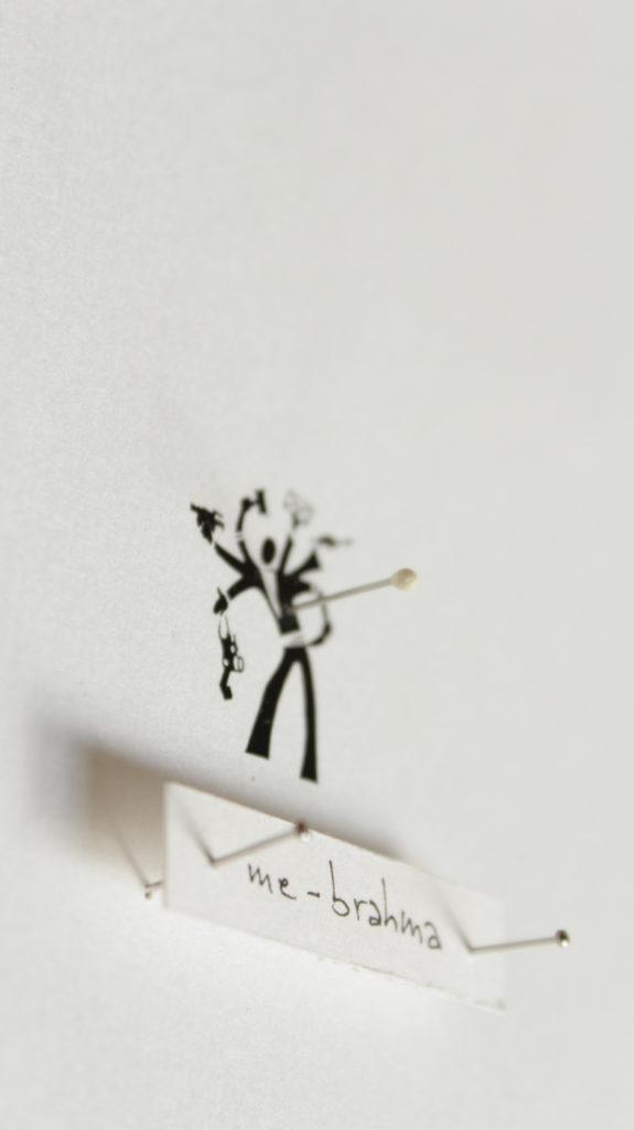 me as an insect (me-brahma) part. stampa a ricalco e spilli su carta calcografica e mdf, cornice. cm. 42,5 x 32,5. 2015