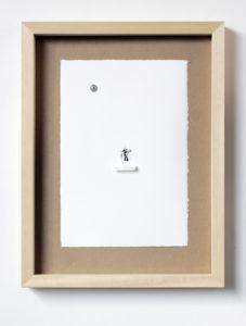 me as an insect (me-shiva). stampa a ricalco e spilli su carta calcografica e mdf, cornice. cm. 42,5 x 32,5. 2015