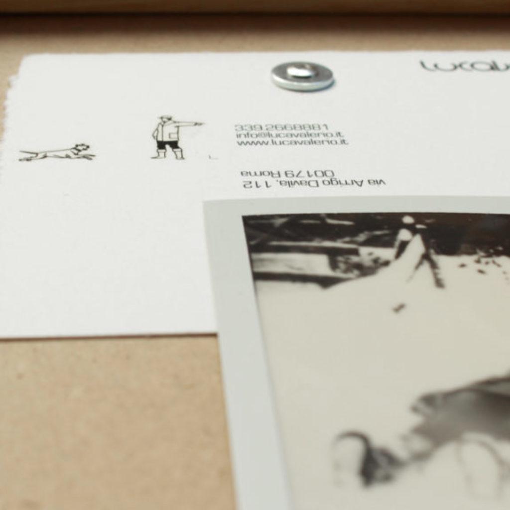 walk in silence (part). stampa a ricalco e polaroid su carta calcografica e mdf, cornice. cm. 26,2 x 20,2. 2015