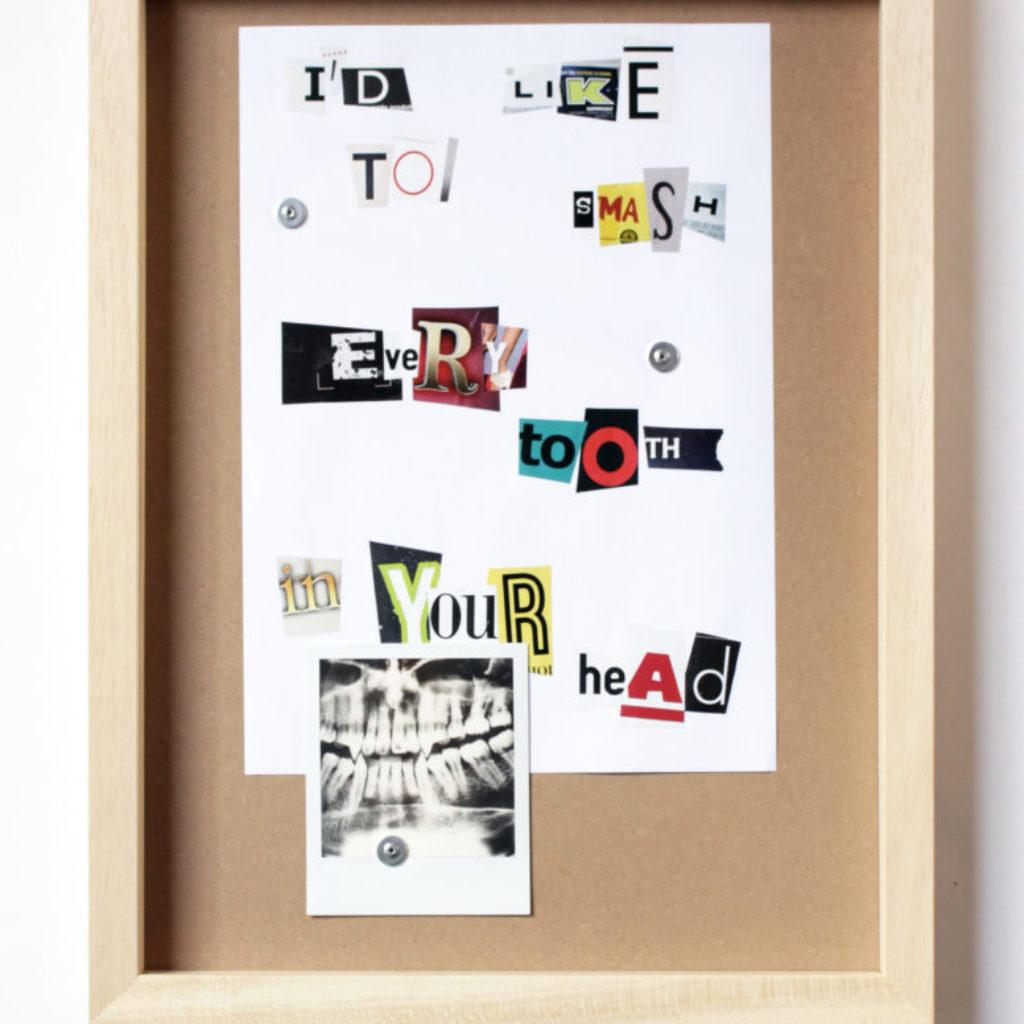 love song (toot). polaroid e carta su mdf, cornice. cm. 43 x 33. 2015