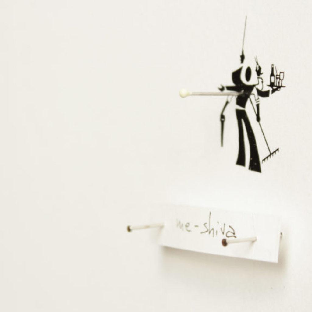 me as an insect (me-shiva) part. stampa a ricalco e spilli su carta calcografica e mdf, cornice. cm. 42,5 x 32,5. 2015